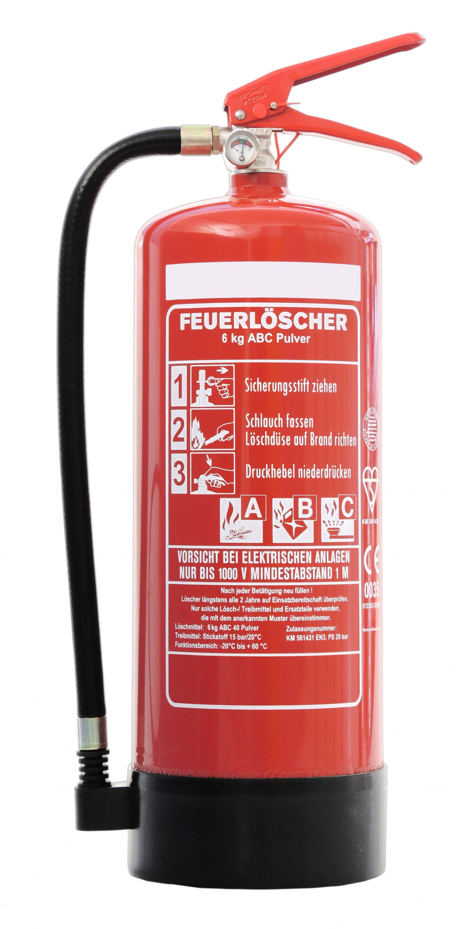 feuerl scher 6kg abc pulverl scher mit manometer en 3 und andris pr fnachweis feuerl scher. Black Bedroom Furniture Sets. Home Design Ideas