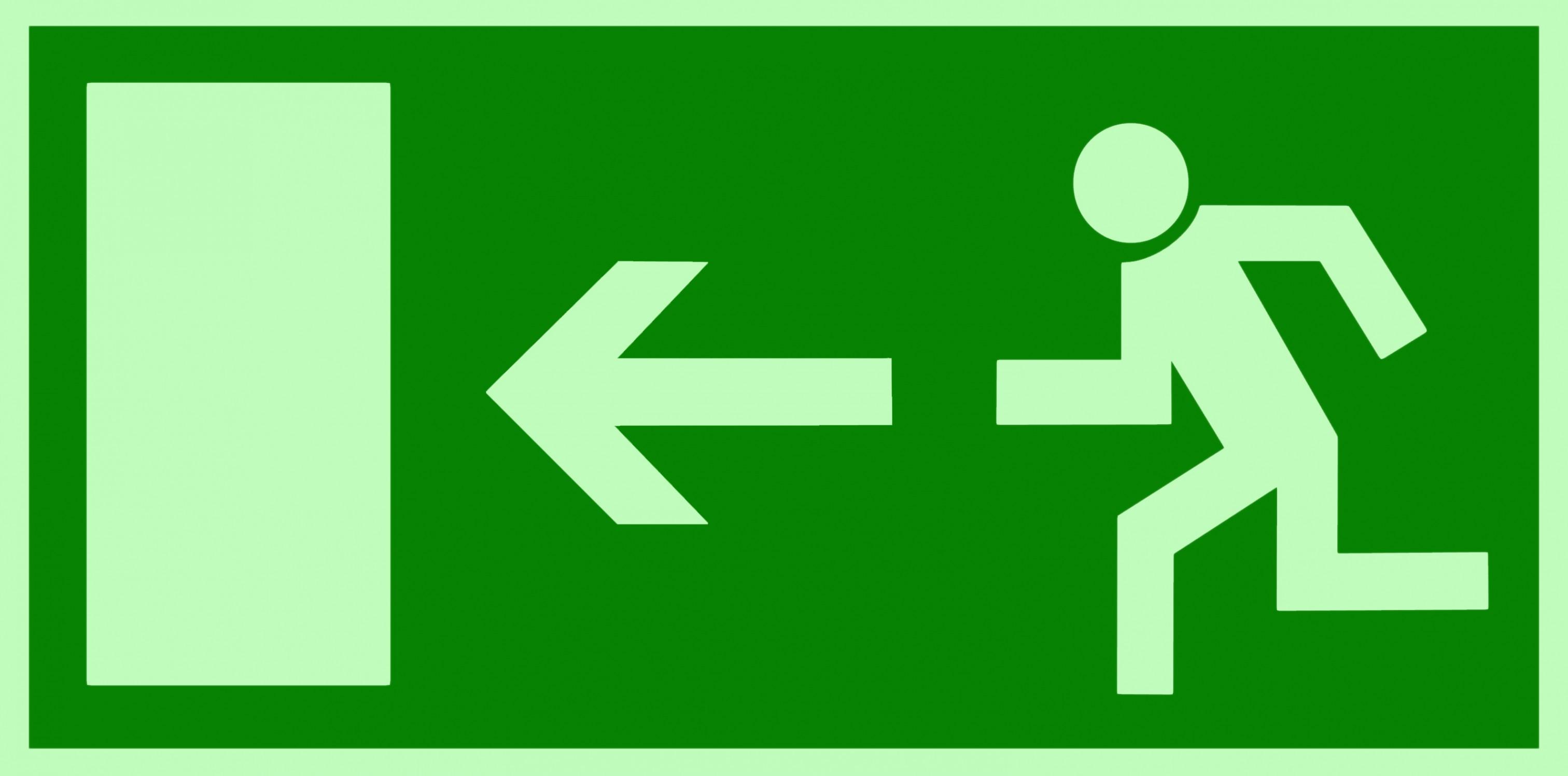 rettungszeichen symbolschild fluchtwegnotausgang links
